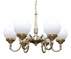 424 six arm brass chandelier with white opal globes