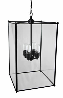 430 large black rectangular lantern ip44