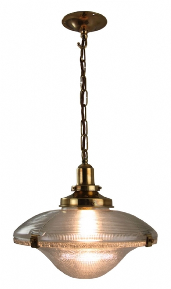 Cross Reeded Pendant - Distressed Brass