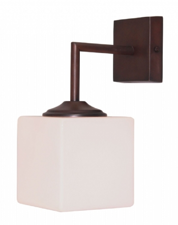 Cube White Opal Cube Wall Light
