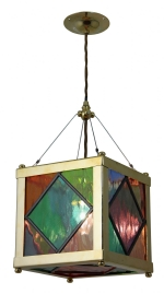 HARL28 - Harlequin Handmade Cathedral Cube Pendant